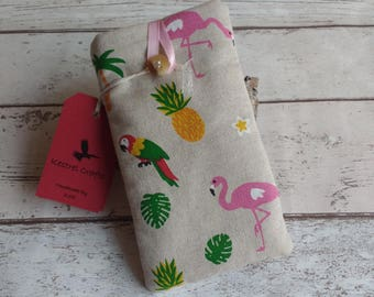 Cute Handmade Glasses Case Flamingo Parrot Toucan Fabric - Kestrel Crafts