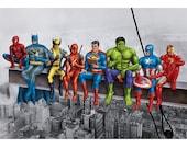 Superheroes on Girder Poster. Original artwork based on Marvel comic characters. Batman, Spiderman, Wolverine, Superman, Hulk, Iron Man etc.