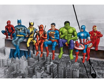 Superheroes on Girder Poster. Original artwork based on Marvel comic characters. Batman, Spiderman, Wolverine, Superman, Hulk, Iron Man etc.