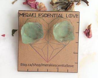 Green Fluorite Earrings. Fluorite Earring studs. Fluorite Octahedron. Boho Jewelry.