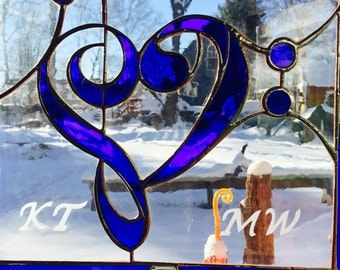 SOLD. Blue catherdral stained glass music notes, musician gift, G clef, and bass clef