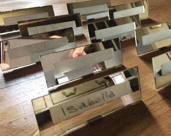 Art Deco Place Setting Names, Table Place Names, Mirrored Name Plaques
