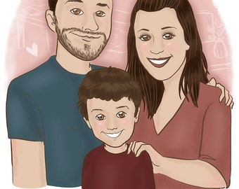 Family custom portrait - 3 person - illustration