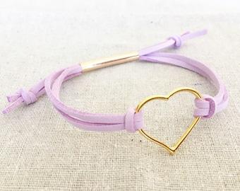 Gold Heart Essential Oil Diffuser Bracelet - Lilac Faux Suede - Adjustable
