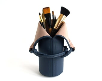Travel Makeup Brush Holder Navy Makeup Storage Womens Gift For Wife Vegan Makeup bag Cosmetic Bag Makeup Brush Roll Makeup Brush Organizer