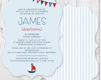 Blue Red White Nautical Boat Boy Baptism Christening Invitations | A5 Die Cut Scallop Shape, Free Colour Changes | Peach Perfect Australia