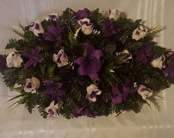Full Cemetery Saddle Made With Two Tone Purple and White Roses With A Purple Splash Of Lilys