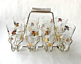 Set of Eight Mid Century Gold Grape Tom Collins Glasses. Mid Mod Barware with Brass Carrying Rack.