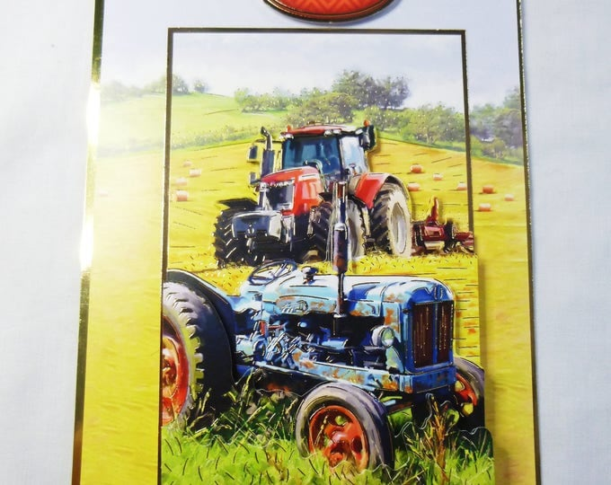 Tractors 3D Decoupage Card, Birthday Card, Greeting Card, Farming Scene, Male, Any Age, Father, Dad, Son, Brother, Uncle, Nephew