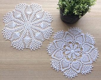 Crochet Doilies - WHITE - Set of 2