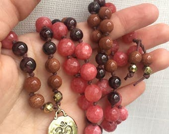 Coral Jade | Goldstone | Garnet | 24K Gold Plated Om | Mala | 108 | Knotted Necklace