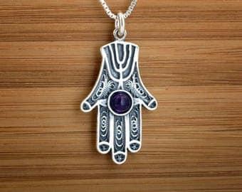 STERLING SILVER Hamsa, Hand of Fatima Pendant or Earrings -Chain optional