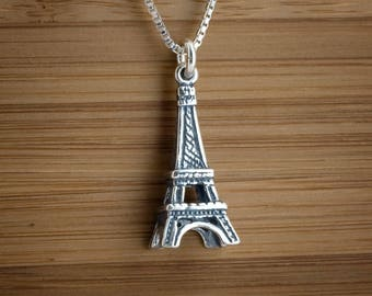 STERLING SILVER 3D Eiffel Tower Charm or Earrings - Chain Optional
