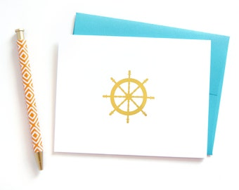 Nautical Stationery, Set of 6 Gold Foil Notecards with Wheel, Thank You Cards, Friendship Card, Gift for Her, Gold Foil Stationary
