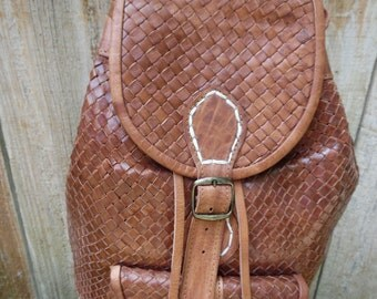 leather woven back pack