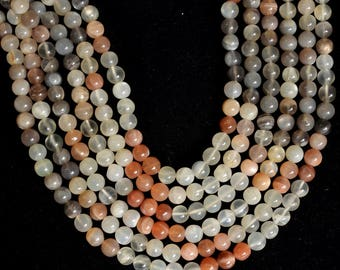 "Natural MULTI MOONSTONE 1 Strand 13"" Smooth Handmade Round Beads 7 to 8 mm approx 100% Natural Beautiful AAA Quality Discounted Price"