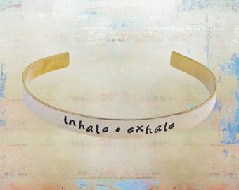 """Inhale Exhale Bracelet Hand Stamped Mantra Yoga Inspirational Jewelry 1/4"""" brass …"""