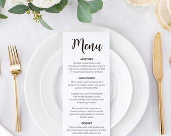 Wedding Table Menu, modern table menu, simple table menu, printable table menu, table menu - Amber Wedding Suite