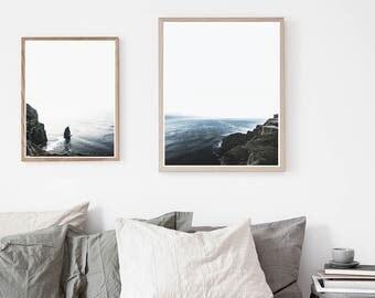 Cliffs of Moher Ireland Photography 2 print set. Minimal, wanderlust, travel photo wall art. Modern, Scandinavian design. Instant download.