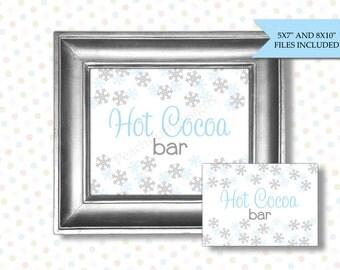 Hot cocoa bar sign (INSTANT DOWNLOAD) - Hot cocoa bar printables - Winter birthday decorations - BI008