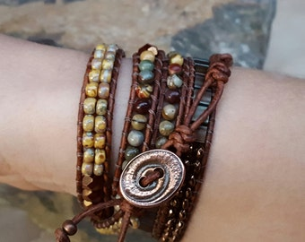 Leather Beaded Five Wrap Bracelet