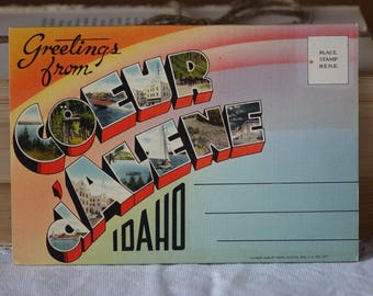 Vintage IDAHO images folder - Coeur d'Alene - Greetings from Coeur d'Alene, IDAHO  - Vintage 1950s