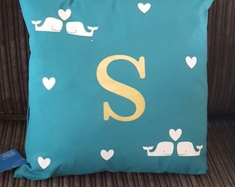Personalised Initial love whale's cushion