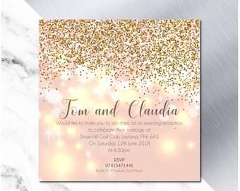Glitter Wedding Invitation Blush Design - Pack of 10 with Envelope