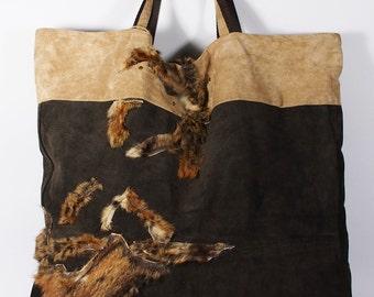 Real FOX FUR bag, Real leather tote bag, Broun tote bag, Broun tote bag, Women Carry Bag, Fox Fur Bag, Present for hur,