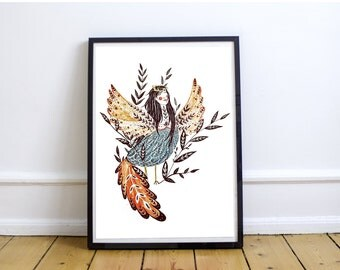 Harpy - Original Watercolor Illustration || Print