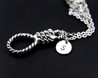 Silver Hangman's Noose Charm Necklace, Hangmans Knot Pendant, Men's Necklace, Prolonge Charm, Personalized Necklace, Initial Charm