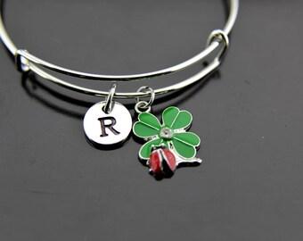 Ladybug on Clover Leaf Bracelet, Silver Red Ladybug on Green Clover Leaf Charm Bangle, Ladybug Charms, Personalized Bracelet, Initial Bangle