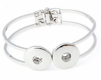 Bijou SNAP ! Bracelet articulé double snaps en métal de couleur argent brillant / cadeau femme, enfant, noël, fête,  Passion rebelle