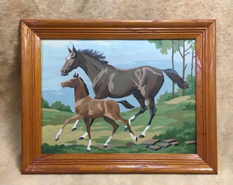 Paint By Number Framed Horse and Foal Running, Vintage PBN Painting Mid Century Animal Landscape