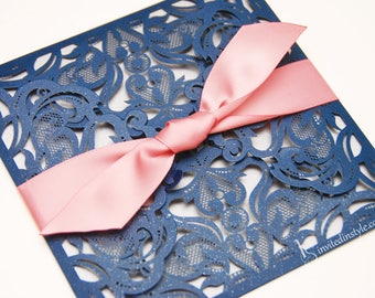 Laser cut Wedding Invitation, with satin ribbon belly band - choice of colours - Personalised sample