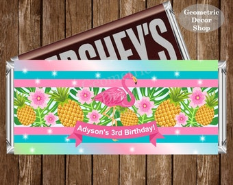 Flamingo Chocolate Bar Girl Luau Pink Teal Hawaiian Birthday Candy Bar Chocolate Wrappers Favor Print Hershey Bar Printable pool beach CBFL1