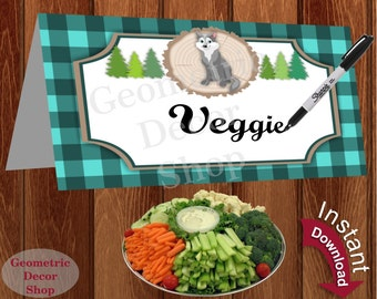 Food Tent Labels Lumberjack Birthday Buffet Name Lumber Jack Dinner Buffalo Plaid Woodland Instant Download timber wolf FTLJ3