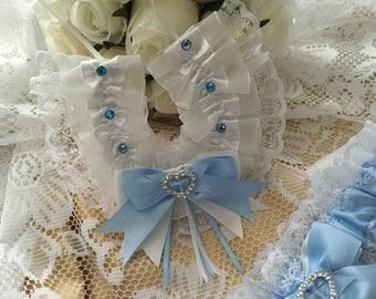 WEDDING HORSESHOE horse shoe good luck charm white baby blue something blue traditional lace satin heart crystal keepsake gift for the bride