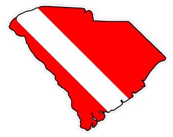 South Carolina State (B41) Diver Down Flag Yeti Tumbler Decal Sticker Laptop