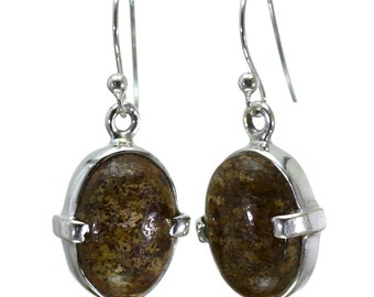 Bronzite Earrings, 925 Sterling Silver, Unique only 1 piece available! color brown, weight 4.4g, #28957