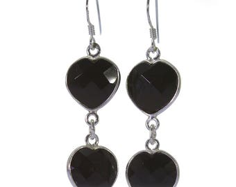 Black Onyx Earrings, 925 Sterling Silver, Unique only 1 piece available! color black, weight 4.4g, #40989