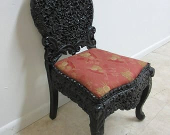 Antique Asian Chinoiserie 18th Century Pierce Carved Ebony Desk Side Chair