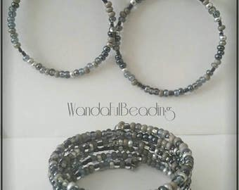 Czech Natural Hematite Mix Memory Wire Bracelet & Earring Set