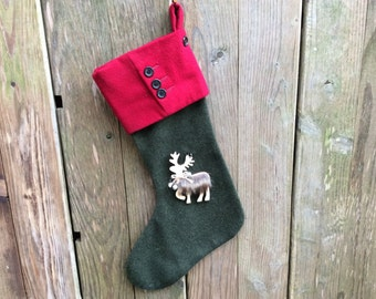 Tweed Christmas stocking, wool, Christmas decoration
