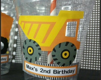 12 Personalized Construction Themed Party Cups with Straws and Lids!, Construction Plastic Party Favors