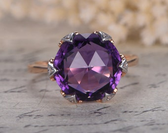 Engagement Amethyst Ring 14K rose/ white/ yellow gold diamond accent ring natural purple amethyst statement ring February birthstone ring