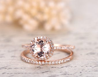 7mm Round Cut Morganite Engagement Ring Set Morganite Ring And Diamond Wedding Band Solid 14K Rose Gold Bridal Wedding ring set