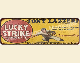 Tony Lazzeri for Lucky Strike Vintage Look Reproduction 6x18 Metal Sign 6180089