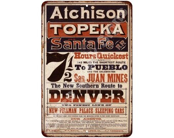 1873 Atchison Topeka Santa Fe RR Vintage Look Reproduction Sign 8 x 12 8120460