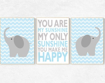 Nursery decor boy, Blue nursery decor, You are my sunshine my only sunshine, blue gray, elephant nursery, kids room decor, baby room